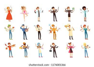 Multitasking people set with many hands. Workers of different professions. Flat worker characters with tools and equipment. Vector