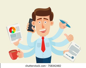 Multitasking and productivity concept. Time management. Happy businessman with many hands holding papers, contracts, briefcase, mobile phone, pen. Thumb up. Business vector illustration, concept, flat