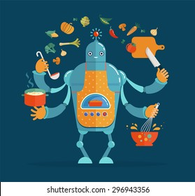 Multitasking robot chef baking and cooking