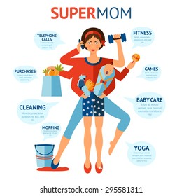 Multitasking super mom concept with woman holding baby and housework objects in hands vector illustration