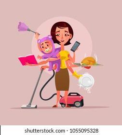 Multitasking super mother character holding baby, phone, food and cleaning house. Vector flat cartoon illustration