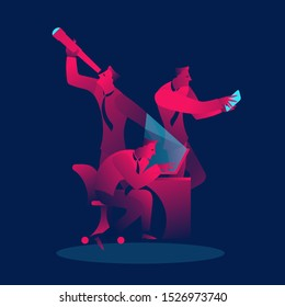Multitasking, teamwork business concept in red and blue neon gradients