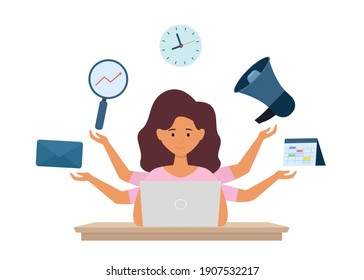 Multitasking and time management concept.  Multi tasks office manager working on laptop. Vector illustration isolated on white background.