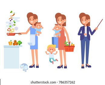 Multitasking woman. Business woman and housewife - mother with baby, working, cooking and make a shopping.  Vector flat cartoon illustration.
