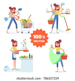 Multitasking woman. Modern woman  - mother with baby, working, cooking and make a shopping.  Vector flat cartoon illustration.