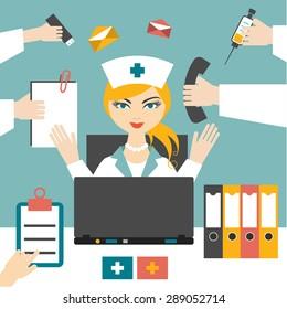 Multitasking woman nurse hard working. Busy medical woman. Flat design.