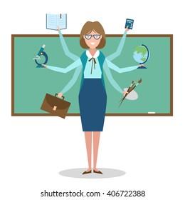 Multitasking Woman school teacher near chalk board isolated on white. Teacher shiva concept vector. Teacher woman character. Tutor.