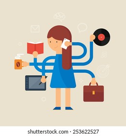 Multitasking woman vector illustration, flat style
