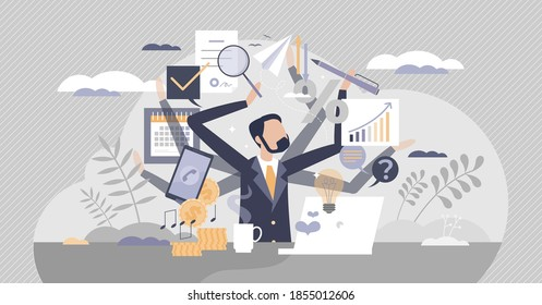 Multitasking work and private life as combine many job duties and tasks tiny person concept. Workload efficiency under pressure or stress management vector illustration. Chaos and workaholic lifestyle