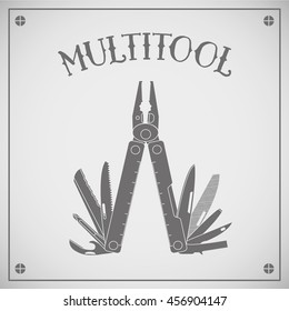 Multitool. Multifunctional tool, typically in the form of hollow folding pliers handles which are hidden. Vector. Isolated