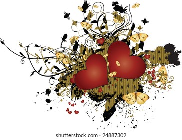 A multitude of red hearts on a golden background with a leaf ornament