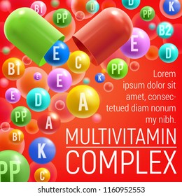 Multivitamin complex poster of vitamins and minerals for healthy life or medical dietary supplement advertisement. Vector design of vitamins A, C or D and E pills and 3D capsules