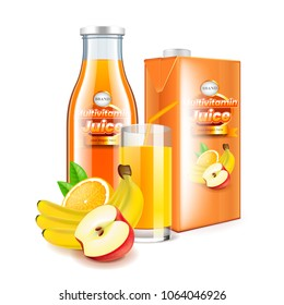 Multivitamin juice in glass bottle and box packaging 3d realistic vector