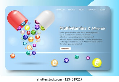 Multivitamins and minerals landing page website template. Vector realistic illustration. Vitamine complex pharmaceutical open capsule with falling out vitamin balls. Vitamin and mineral supplements.