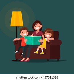 Mum reads the book to children. Vector illustration of a flat design