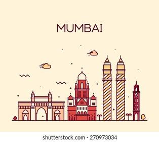Mumbai City skyline detailed silhouette. Trendy vector illustration, line art style.