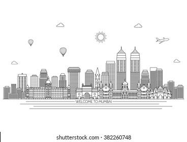 Mumbai detailed skyline. Travel and tourism background. Vector background. line illustration. Line art style