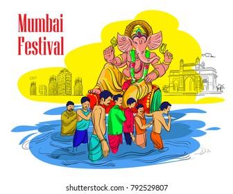 mumbai ganesha festival illustration