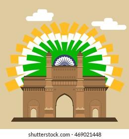 Mumbai Gateway. Gateway. Indian landmark with abstract flag EPS8.