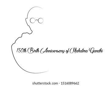Mumbai, India - 09/09/2019 : 150th Birth Anniversary of Mahatma Gandhi, single line sketch creative vector illustration for 2nd October Gandhi Jayanti with nice and beautiful design, vector isolated