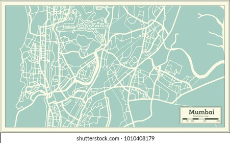 Mumbai India City Map in Retro Style. Outline Map. Vector Illustration.