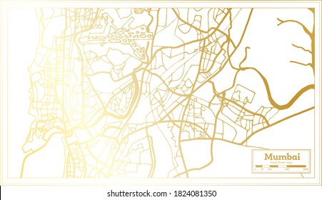 Mumbai India City Map in Retro Style in Golden Color. Outline Map. Vector Illustration.