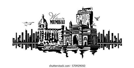 Mumbai, India Gate and the Taj Mahal Hotel Mumbai, the view from the Arabian Sea. Poster retro.