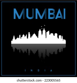 Mumbai, India, skyline silhouette vector design on parliament blue and black background.