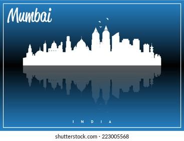Mumbai, India, skyline silhouette vector design on parliament blue and black background.