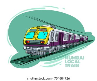 Mumbai local train vector illustration