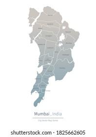 Mumbai Map. a major city in the India.