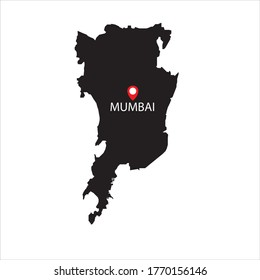 Mumbai maps in black and white with location icon