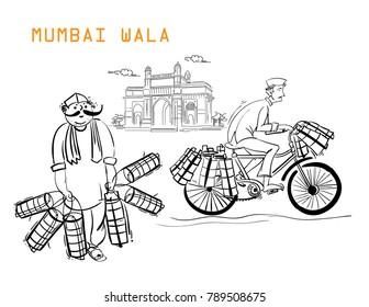 mumbai people illustration vector