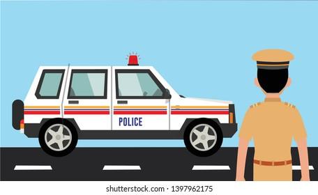 Mumbai Police officer back View
