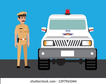 Mumbai Police Officer With car