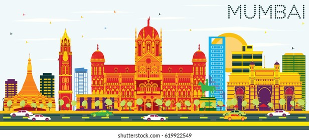 Mumbai Skyline with Color Buildings and Blue Sky. Vector Illustration. Business Travel and Tourism Concept with Modern Architecture. Image for Presentation Banner Placard and Web Site.