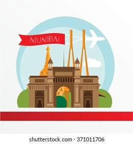 Mumbai skyline, detailed silhouette. Trendy vector illustration, flat style. Stylish colorful Mumbai landmarks. The concept for a web banner. Bandra Worli Sea Link, and the Gateway of India