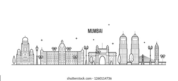 Mumbai skyline, Maharashtra, India. This illustration represents the city with its most notable buildings. Vector is fully editable, every object is holistic and movable