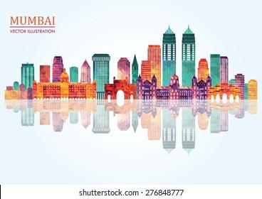 Mumbai skyline silhouette. Vector illustration