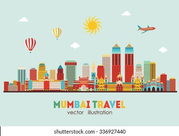 Mumbai skyline silhouette. Vector illustration