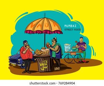 mumbai street food vada pav vector illustration