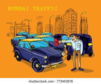 mumbai traffic illustration