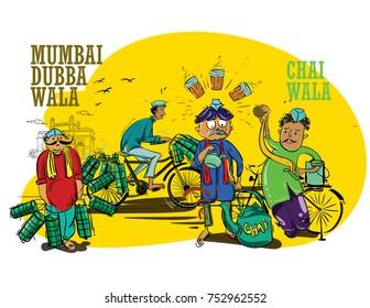 mumbai wala people illustration vector