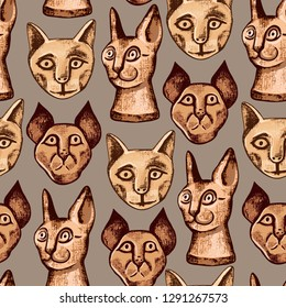 Mummified cat. Vector seamless pattern with various portraits of ancient Egyptian mummy of a cats.    Hand-drawn  illustration.
