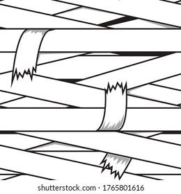 Mummy bandages seamless pattern. Cartoon vector illustration. Halloween print for kids t-shirt.