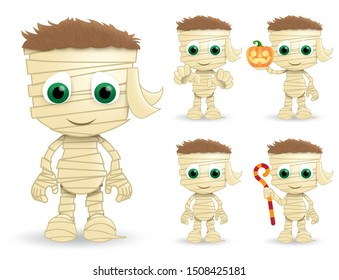Mummy halloween vector characters set. Mummys character creature wearing halloween costume in paper bandage standing while holding pumpkin lantern and stick isolated in white background. Vector illust