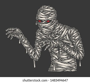 Mummy Illustration, Monochrome Hand Drawn Sketch, Halloween, Isolated Vector