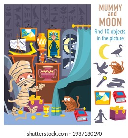 Mummy and Moon in Museum. Find 10 objects in the picture. Vector illustrations, full color.