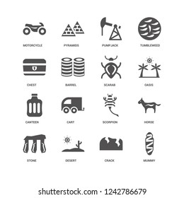 Mummy, Oasis, Scarab, Stone, Horse, Motorcycle, Chest, Canteen, Crack, Desert, Pumpjack icon 16 set EPS 10 vector format. Icons optimized for both large and small resolutions.