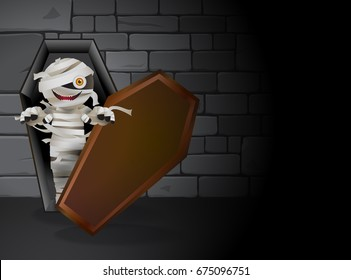 Mummy zombie is haunting in the dark tomb. Mummy living in a coffin and stones wall as background. Vector illustration for halloween.